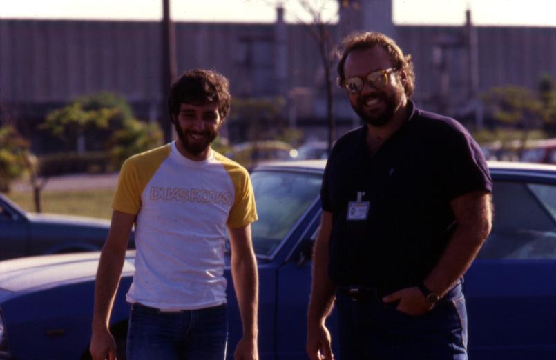 Eu e o Maucus Zamponi, o Zampa, em meados dos anos 80, quando ele era o assessor de imprensa da Yamaha